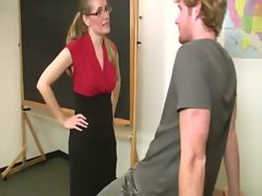 Sensual Mommy teacher with glasses samples her students shaft