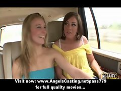 Three luscious charming butch ladies undressing and knockers massage