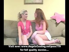 Three wonderful charming butch cute chicks talking and touching