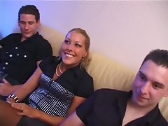 Beauteous blond lady gangbanged