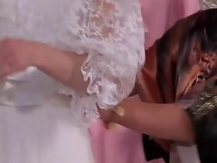 WAM lesbian in bride dress gets damp