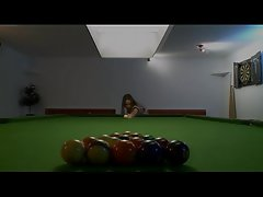 Killer girl4girl in shoes on billiards