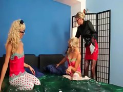 Tempting blonde lezzies gets WAM in 3some