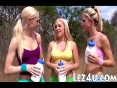 Three blondie pornstars intimate lesbosex after having a jogging