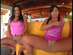 Brazilian slutty mom &amp_ daughter fellatio and screwing 2 BBCs