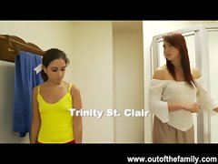 Graceful Trinity St. Clair Gets a Dick sucking Lesson from her Stepmom