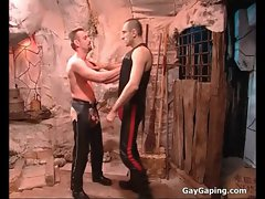 Two fetish gays in leather masturbate and fuck their butts
