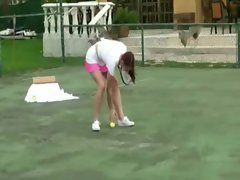 Redhead tennis slutty girl gets roughly screwed and jizzed