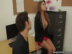 Madison Ivy is a buxom dark haired teacher who gets banged by xxl huge cock student