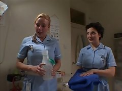 Two English Nurses Soap Up And Screw A Happy Lad