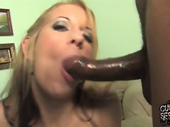 Dirty wife made her cuckold a ebony jizz cleaner
