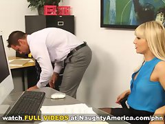 Mailroom clerk screws his bosses dirty wife on his desk
