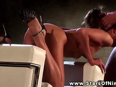 Nika Noire blows her stud on her love seat before screwing