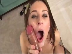 Dark haired deepthroats a huge shaft
