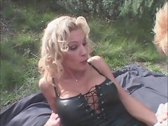 Slutty chicks Bangs Lad with large strap on in the Woods