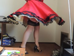 Sissy Ray in Red Taffeta Skirt and gold petticoat