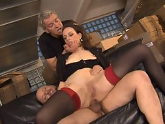 Attractive mature german cutie gets thumped rough in all holes by 2 lads