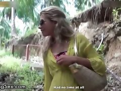 Tempting blondie chick gets alluring walking part4