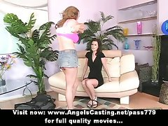 Top heavy lezzies undressing and stroking and toying muff on couch