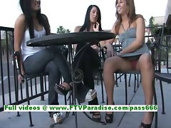 Devaun and Wendy cool lesbo womans kissing in a public place