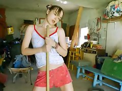 The most erotic garage lady undress