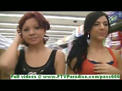 Rita and Madeline beautiful leasbians public flashing hooters and kissing