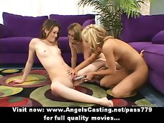 Lezzy triple sex orgy caressing and toying muff with rubber toy