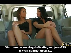 Three amazing lesbo girls chatting and flashing knockers in the car