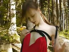 Glass rubber toy in her girly quim in forest