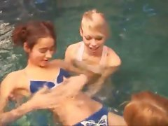 Three sensual russian babysitters in the pool