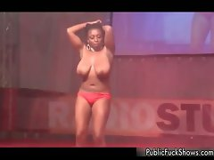 Big titted black lass with huge natural knockers part1