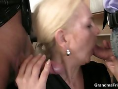 She swallows two dicks for work