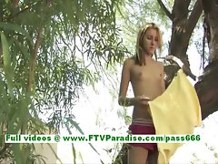 Tina fun tempting blonde wench toying muff outdoor using a vibrating sex toy