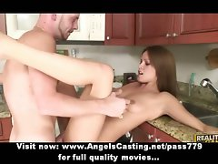 Luscious amateur dark haired young lady banged wild and riding prick in kitchen