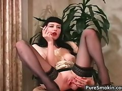 Luscious dark haired vixen smokes cigarette part4