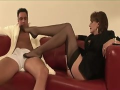 Attractive mature stocking whore femdom footplay