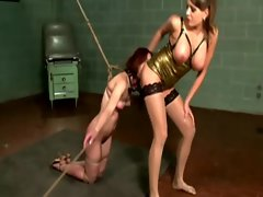 Master queens her worthless slave while slave is bound