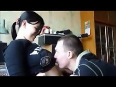 Curvy Dark haired Slutty girl on Natural Homemade Sextape