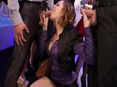 Attractive euro pornstar fellatio on two peckers at this sexual party
