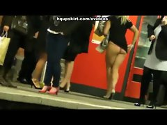 Attractive gals expose thong upskirts