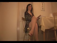 Slutty mom in slip and stockings with irreproachable knockers strips