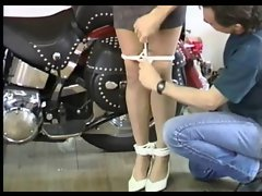 Slaves knockers hang to her knees