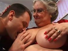 fatty granny strokes and bangs in stockings