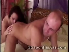 Luscious dark haired with strapon Manuela reams her man doggystyle