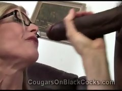 Extremely filthy experienced light-haired tart Nina Hartley licks monumental black shaft
