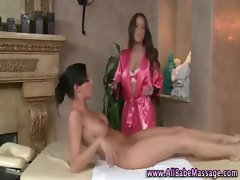 Watch attractive lesbian masseuse gets off