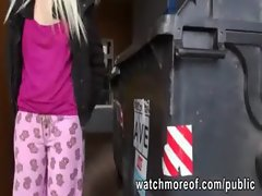 Tempting light-haired hussy flashes her teensy hooters in public and gets banged