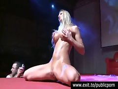 Biker Babe Marena exhibits her slit on stage