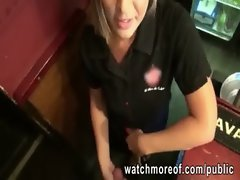 Alluring bartender gal decides to have a quickie sex with a stranger during work