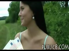 Amazing Czech good looking banged and facialed in public for cash